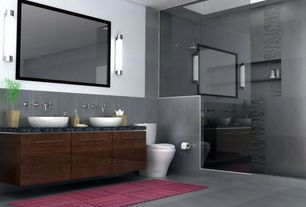 Contemporary Master Bathroom with Rain shower, Wall sconce, Onyx counters, European Cabinets, Inset cabinets, Vessel sink