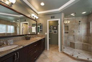 Traditional Master Bathroom with MS International - Autumn Harmony Granite, Inset cabinets, specialty door, Raised panel