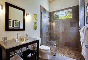 Contemporary 3/4 Bathroom with no showerdoor, Stainless steel counters, Standard height, Paint, Wall sconce, picture window