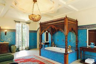 Mediterranean Master Bathroom with Coffered ceiling, Upholstered arm chair, Indigo gloss santa barbara ceramic tile