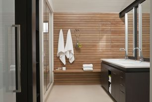 Contemporary Master Bathroom with Horizontal wood paneling, Paint, Fairy White Quartz, Built-in bench seating, Wall sconce