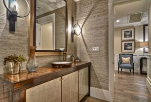 Contemporary Powder Room with Wall sconce, Powder room, Vessel sink, Wood counters, Paint, Hardwood floors, Flush
