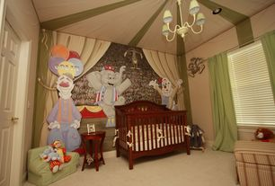 Traditional Kids Bedroom with no bedroom feature, Chandelier, Standard height, Mural, specialty window, Carpet, can lights