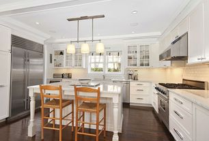 Contemporary Kitchen with Complex marble counters, Prime Pacific Stainless Steel Bread Box, Brushed, Hardwood floors