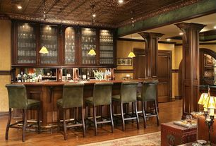 Traditional Bar with Besa 1XC-5121HN Kani Pendant, can lights, Standard height, Steamer trunk, Leather barstool, Chair rail