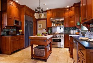 Traditional Kitchen with Ms international colisseum 12 in. x 12 in. honed travertine floor and wall tile, Chandelier