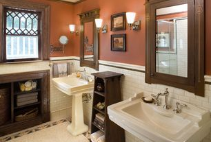 Craftsman Full Bathroom with Enid widespread bathroom faucet, Glass panel, Inset cabinets, High ceiling, Wall sconce