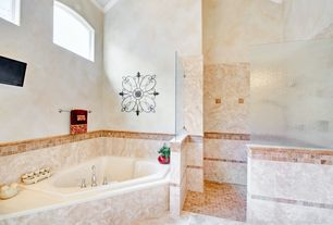 Mediterranean Master Bathroom with MS International Tuscany Classic Travertine, Kohler Corner Whirlpool Tub