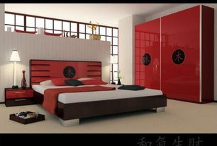 Asian Master Bedroom with Rice paper window screen, Red lacquered cabinets, Red lacquered bedroom furniture