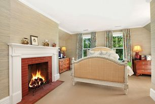 Traditional Guest Bedroom with Crown molding, Carpet, interior wallpaper