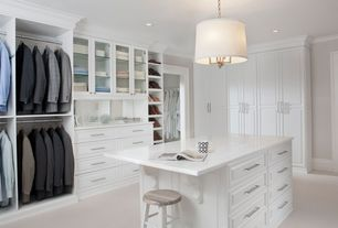 Contemporary Closet with Quartz countertop, Custom built closet, Lamp shade pendant light fixture