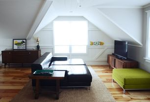 Contemporary Attic with Dot & bo - midcentury sideboard, smooth style console, Lasalle - right arm black chaise, Paint 1