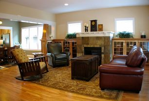 Craftsman Living Room with picture window, flush light, Paint, stone fireplace, Hardwood floors, High ceiling, can lights