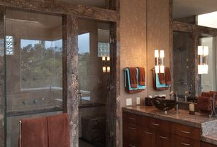 Contemporary Master Bathroom with Arizona Tile, Saturnia Gold Satin, Granite, Complex marble counters, frameless showerdoor