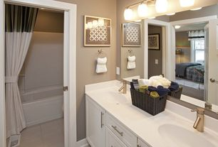 Traditional Master Bathroom with Bathtub, Standard height, can lights, Corian counters, Double sink, partial backsplash