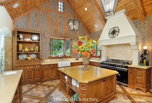Country Kitchen with Cathedral ceiling, Simple Marble, Bay window, Wood plank ceiling (tongue & groove board), Pendant light