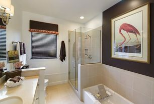 Modern Full Bathroom with Flush, Flat panel cabinets, Undermount sink, frameless showerdoor, Simple Marble, Master bathroom