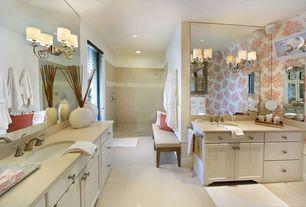 Contemporary Master Bathroom with Undermount sink, full backsplash, three quarter bath, no showerdoor, interior wallpaper