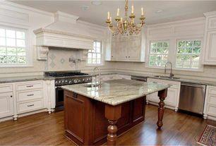 Traditional Kitchen with Raised panel, two dishwashers, Standard height, double-hung window, Undermount sink, L-shaped