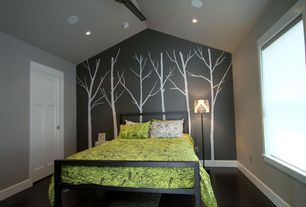 Contemporary Guest Bedroom with Standard height, Paint 2, Ceiling fan, Jcpenny spencer metal bed, specialty window, Mural