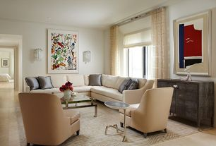 Contemporary Living Room with Crown molding, limestone tile floors, stone tile floors, Standard height, can lights