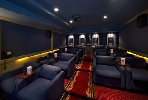 Traditional Home Theater with Paint, Standard height, Carpet, can lights, Built-in bookshelf