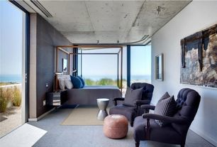 Contemporary Master Bedroom with Carpet, picture window, Standard height, sliding glass door, can lights