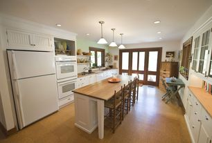 Country Kitchen with dishwasher, Casement, full backsplash, U-shaped, double wall oven, Pendant light, Framed Partial Panel