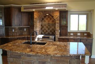 Country Kitchen with One-wall, Stone kitchen island, Golden crystal granite, Complex granite counters, Custom hood, Cabinet