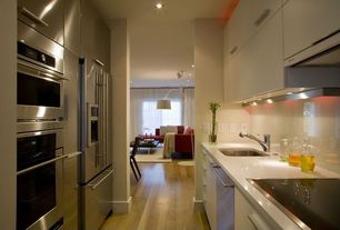 Contemporary Kitchen with Undermount sink, Galley, Quartz countertops, Timbered Walnut 8 mm Laminate Wood Look
