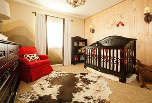 Country Kids Bedroom with Cowhide rug, Bratt Decor Chelsea Lifetime Crib, Mural, Bratt Decor Chelsea Dresser, Chandelier