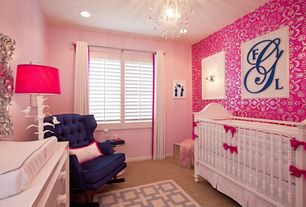 Modern Kids Bedroom with Paint, Carpet, Casement, Madison crib, can lights, interior wallpaper, Chandelier, Standard height