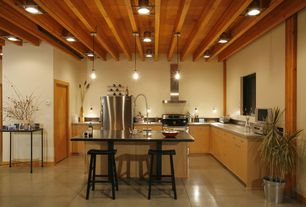Contemporary Kitchen with Pendant light, Flush, L-shaped, Galvanized Party Tub, High ceiling, Concrete counters, Exposed beam