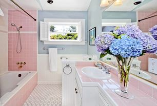 Cottage Full Bathroom with Standard height, drop-in sink, Framed Partial Panel, Flat panel cabinets, Casement, can lights