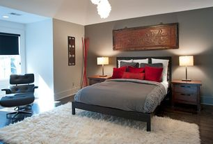 Asian Guest Bedroom with Hardwood floors, Paint 1, Shag rug, Roller shades, 3 day blinds roller shades - solana black