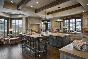 Country Kitchen with Concrete counters, U-shaped, Breakfast bar, Large Ceramic Tile, Pendant light, Kitchen island