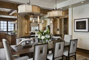 """Contemporary Dining Room with Paint, Standard height, Pendant light, Pillar candle rectangular chandelier 49"""", Columns"""