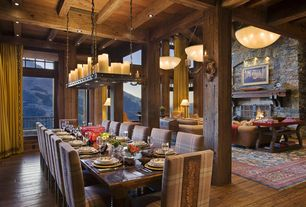 Eclectic Dining Room with Chandelier, Restoration Hardware Salvaged Wood Gun Barrel Rectangular Extension Dining Table