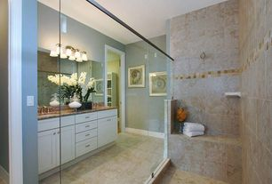 Traditional Master Bathroom with Flat panel cabinets, Double sink, Sauna, Simple Granite, Undermount sink