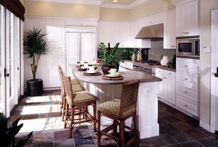 Traditional Kitchen with Wicker bar stool, Porcelain floor tiles