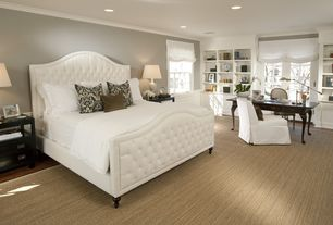 Traditional Master Bedroom with Crown molding, Hardwood floors, Built-in bookshelf, Lee industries - victoria bed