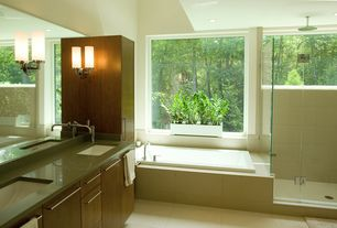 Contemporary Master Bathroom with Double sink, Rain shower, Shades of light cylinder glass bath sconce, Undermount sink