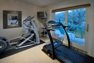 Traditional Home Gym with Carpet