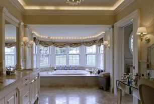 Traditional Master Bathroom with Bathtub, Undermount sink, stone tile floors, Master bathroom, Crown molding, Wall sconce
