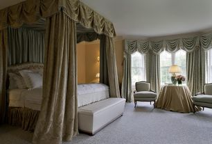 Traditional Master Bedroom with Wall sconce, double-hung window, Standard height, Crown molding, Carpet
