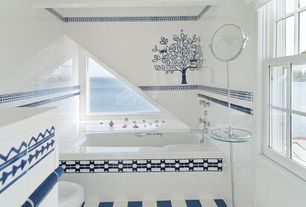 "Traditional Full Bathroom with Master bathroom, Daltile Simple Elegance Ceramic Accent Tile, Mural, 4"" x 4"" glossy white tile"