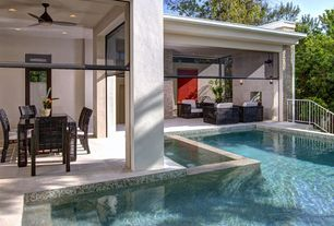 Contemporary Swimming Pool with Outdoor seating area, Covered patio, Ceiling fan