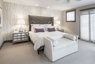 Modern Master Bedroom with Sunpan modern pandora wingback bed, Pasha cape upholstered bench, Ceiling fan, Carpet