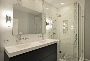 Modern Full Bathroom with can lights, Double sink, Rain shower, Shower, European Cabinets, Inset cabinets, Paint, Wall Tiles