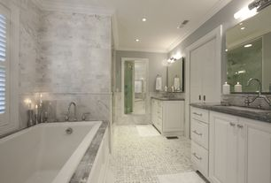 Traditional Master Bathroom with wall-mounted above mirror bathroom light, Casement, frameless showerdoor, Bathtub, Paint